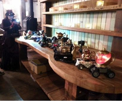 Steampunk Teapots in a row